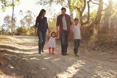 Семья смешанной гонки идя на сельский путь, вид спереди Стоковые Изображения