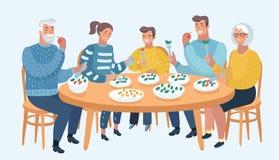 Семья совместно сидит на таблице иллюстрация штока