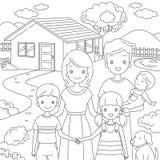 Семья стоящ передняя их дом в стиле Doodle Стоковая Фотография RF