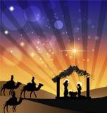 Семья сцены рождества рождества святая иллюстрация штока