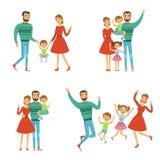 семья счастливая Мать, отец и дети Характеры с улыбками в стиле вектора бесплатная иллюстрация