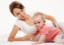 семья счастливая младенец ее мать Стоковые Фото