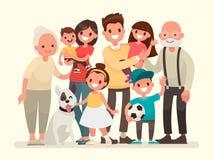 семья счастливая Отец, мать, дед, бабушка, дети иллюстрация штока