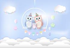Семья сыча с воздушным шаром, бумажным искусством, стилем отрезка бумаги Приветствия c иллюстрация штока