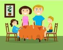 Семья с 2 детьми выпивает чай на таблице иллюстрация вектора