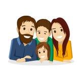 Семья с детьми на белой предпосылке Бесплатная Иллюстрация