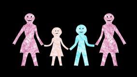 Семья с 2 Мам-Оживленн-прозрачным сток-видео