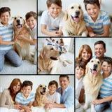 Семья с любимчиком стоковые изображения