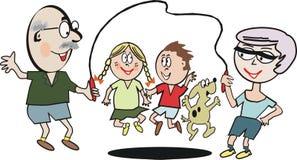 семья тренировки шаржа иллюстрация вектора