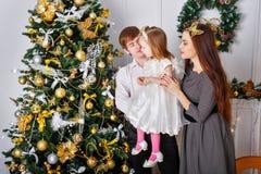 Семья украшает рождественскую елку Стоковое Изображение RF