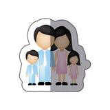 семья цвета с их значком детей Стоковые Изображения