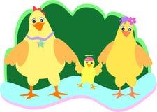 семья цыпленка милая Стоковые Фото