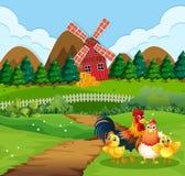 Семья цыпленка на сельскохозяйственных угодьях иллюстрация вектора