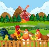 Семья цыпленка на сельскохозяйственных угодьях бесплатная иллюстрация