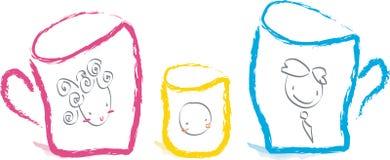 семья чашки иллюстрация штока
