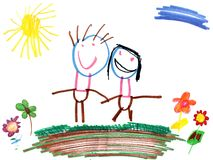 семья чертежа ребенка Стоковая Фотография