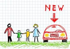 семья чертежа Стоковые Фото