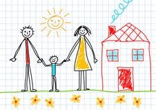 семья чертежа Стоковая Фотография