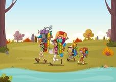 Семья шаржа имея пикник в парке на солнечный день против предпосылки голубые облака field wispy неба природы зеленого цвета травы иллюстрация вектора