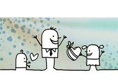 Семья шаржа и ` s отца день бесплатная иллюстрация