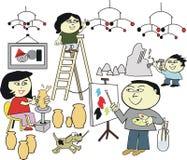 семья шаржа произведения искысства азиатская иллюстрация штока