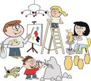семья шаржа художника иллюстрация вектора
