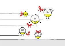 Семья шариков рождества мультфильма смешная иллюстрация вектора