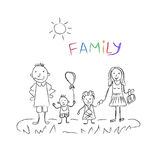Семья, эскиз, иллюстрация вектора иллюстрация штока