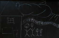 семья chalkboard стоковая фотография