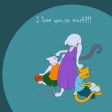 Семья ` s кота Стоковые Фотографии RF