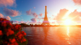Seine in Paris with Eiffel Tower against beautiful sunset Stock Footage