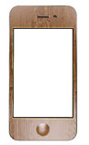 сенсорный экран сотового телефона франтовской деревянный Стоковое Фото