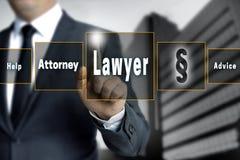 Сенсорный экран юриста эксплуатируется бизнесменом Стоковая Фотография