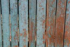 Серая голубая текстура старых деревянных доск сельской загородки Стоковые Фотографии RF