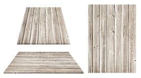 Серая деревянная стена, таблица, поверхность пола, деревянная текстура Предметы изолированы на белой предпосылке Стоковые Изображения RF