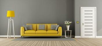 Серая живущая комната с желтой софой бесплатная иллюстрация