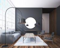Серая живущая комната с круглым зеркалом иллюстрация вектора