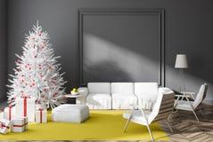 Серая живущая комната с рождественской елкой и настоящими моментами бесплатная иллюстрация