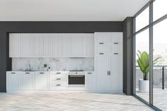 Серая и белая кухня с балконом иллюстрация вектора