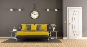 Серая и желтая современная спальня хозяев бесплатная иллюстрация