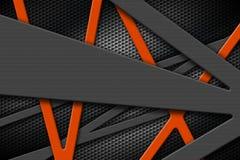 Серая и оранжевая рамка металла на черной предпосылке гриля Стоковая Фотография