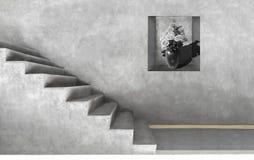 Серая комната цемента художническая Monochrome стиля просторной квартиры стоковое изображение