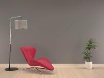 Серая стена с розовым креслом на деревянный жить пола комнат-внутренний стоковая фотография rf