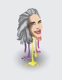Серая с волосами женщина с капанием краски Стоковое Фото