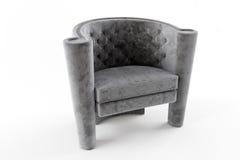 Серая ткань chesterfield стула Стоковое фото RF