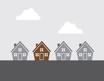 Серая шкала домов исключает одно иллюстрация вектора