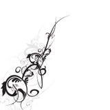 Серая шкала флористического орнамента Стоковые Фото
