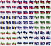 Сербия, Лихтенштейн, Малави, Барбадос, Кабо-Верде, Чеченская Республика Ichkeria, Болгарии, Эстонии, Ангильи Большой комплект фла Стоковое Изображение