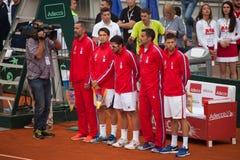 Сербская команда на Davis Cup, БЕЛГРАДЕ, СЕРБИИ 16-ое июля 2016 Стоковое Фото