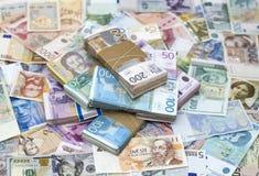 Сербский динар и другая валюта Стоковое Фото